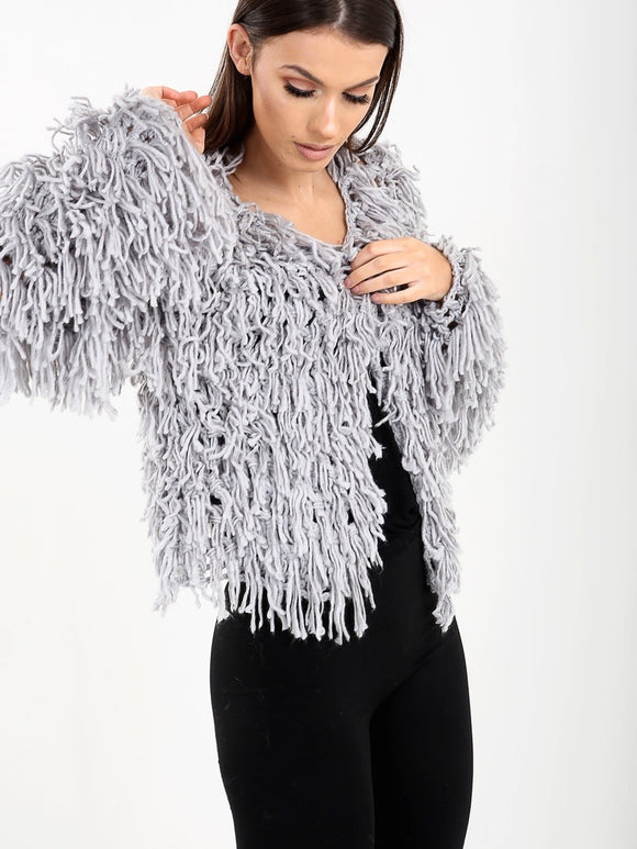 Knit Jacket with Allover Fringing Texture