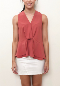 V Neck Peplum Layered Top