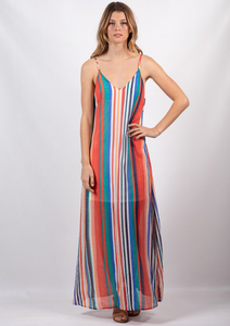 Multicoloured Stripe Maxi Dress