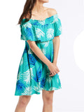 Palm Print Half Sleeve Bardot Swing Dress by M&S Collection
