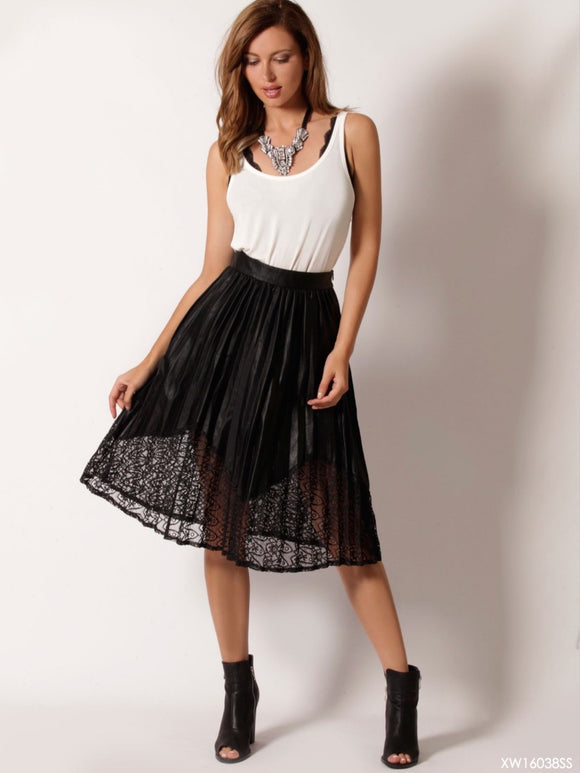 Pleated Leather Look Midi Skirt