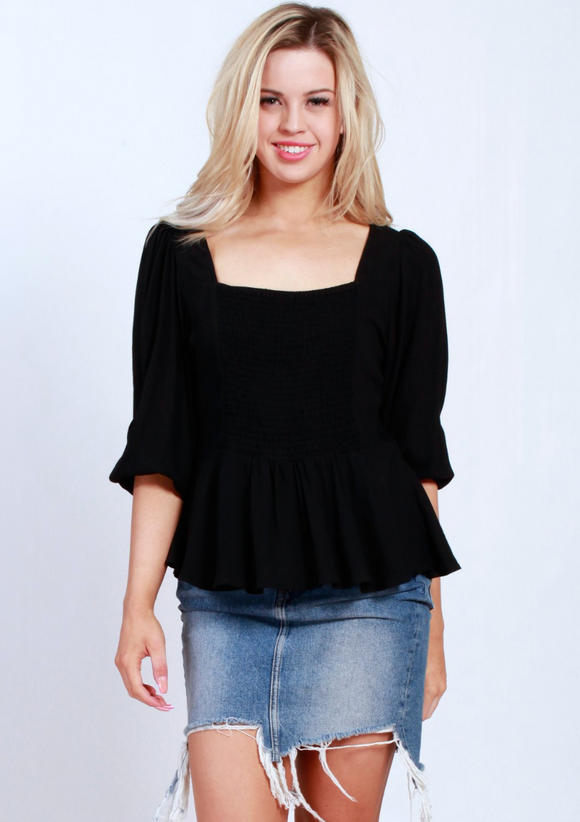 Sleeved Elastic Peplum Top