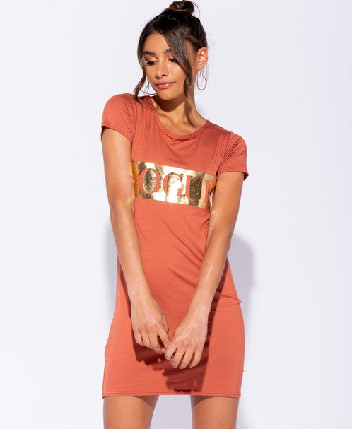 Vogue Print Short Sleeve T Shirt Dress
