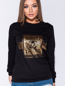 Round Neck Sweater with Foil Print