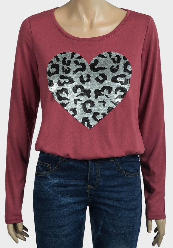 Flip Sequin Heart Top