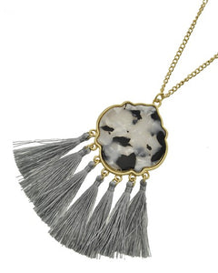 Grey Tassel Detail Pendant Necklace