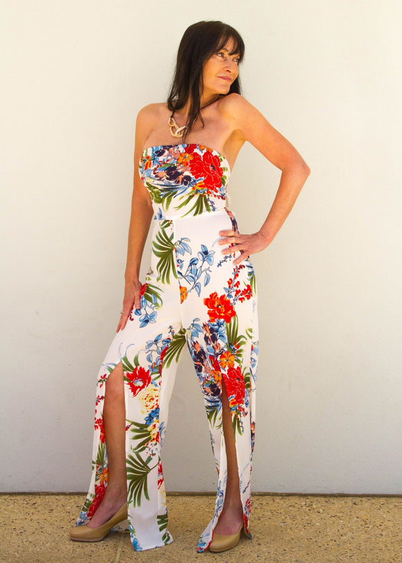 White and Red Strapless Jumpsuit
