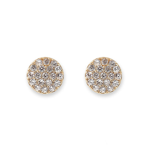 GOLD PAVE DISC EARRINGS