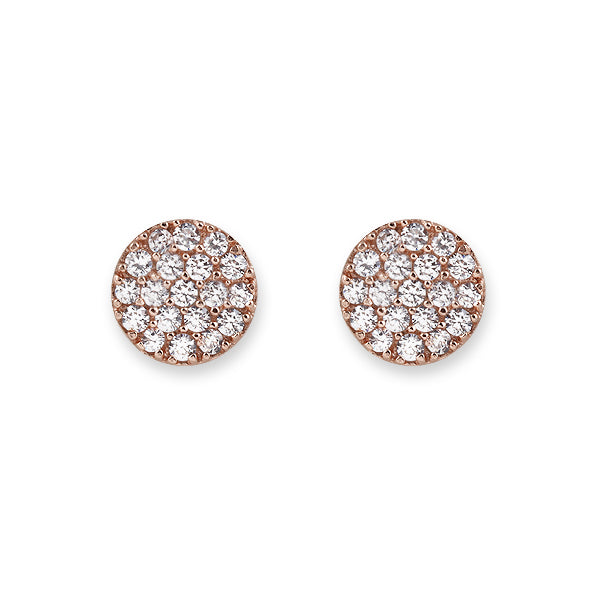 ROSE GOLD PAVE DISC EARRINGS