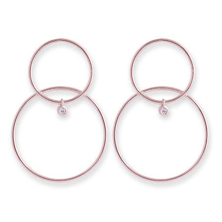 ROSE GOLD DOUBLE HOOP CZ BEZEL DROP EARRINGS