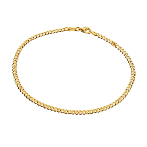 CURB CHAIN ANKLET, GOLD