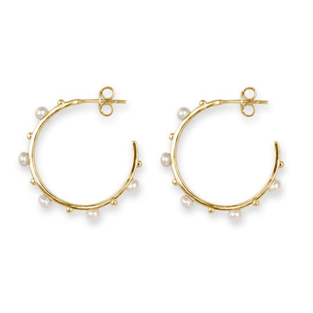 GOLD FRESHWATER PEARL & BALL HOOP EARRINGS