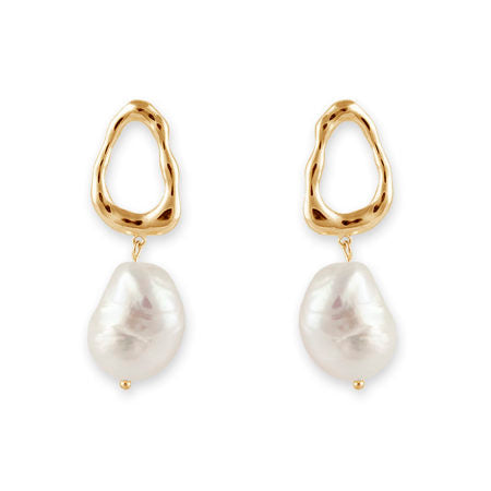 HAMMERED PEARL DROP EARRINGS