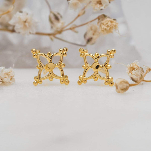 GOLD DAINTY MOROCCAN STAR STUDS