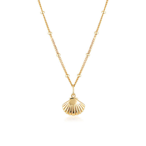 SCALLOP NECKLACE, GOLD