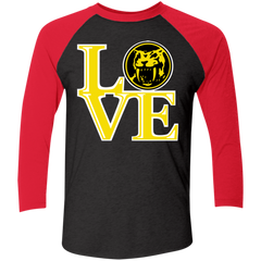 Yellow Ranger LOVE Men's Triblend 3/4 Sleeve