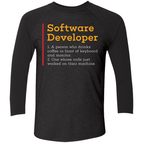 Software Developer Men's Triblend 3/4 Sleeve