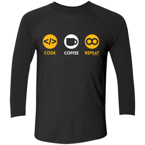 Code Coffee Repeat Men's Triblend 3/4 Sleeve