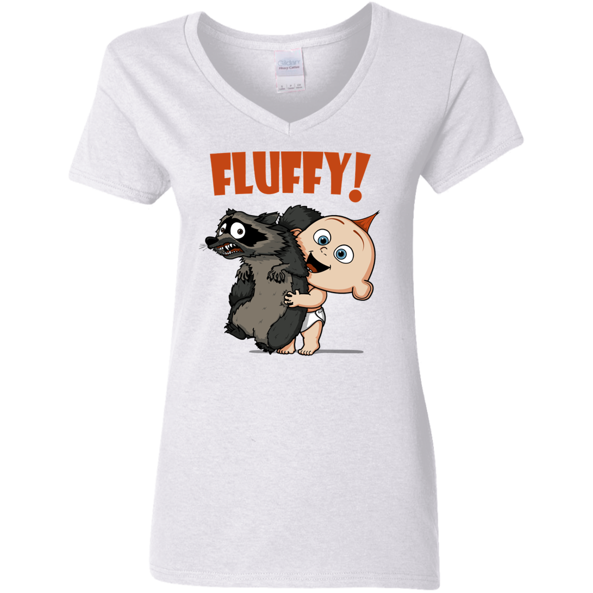 Fluffy Raccoon Women's V-Neck T-Shirt