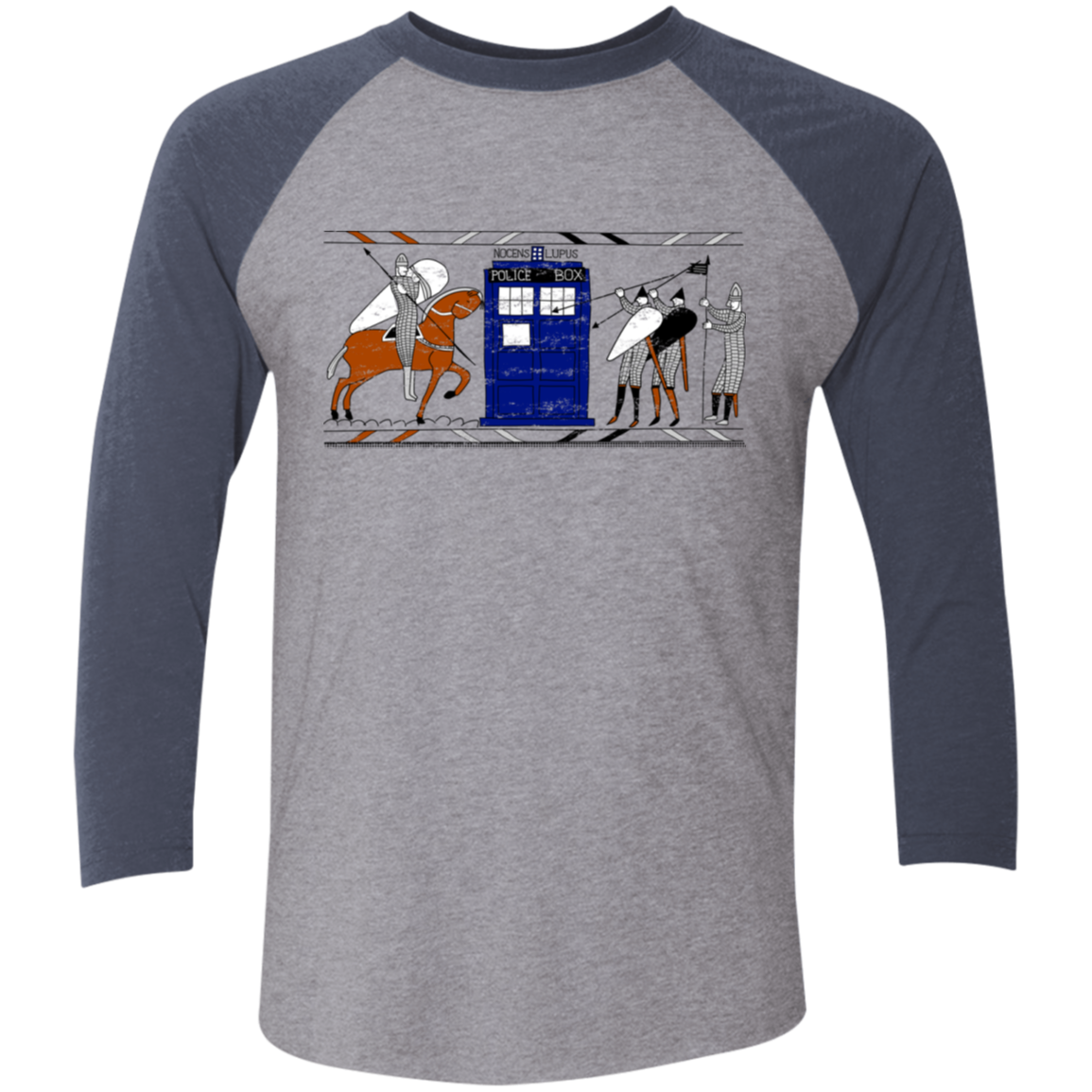 Nocens Lupus Tardis in the Bayeux Tapestry Men's Triblend 3/4 Sleeve
