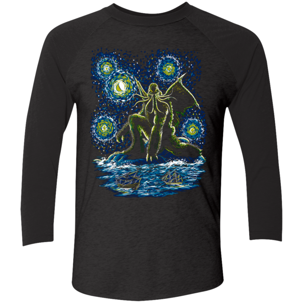 Night of Cthulhu Men's Triblend 3/4 Sleeve