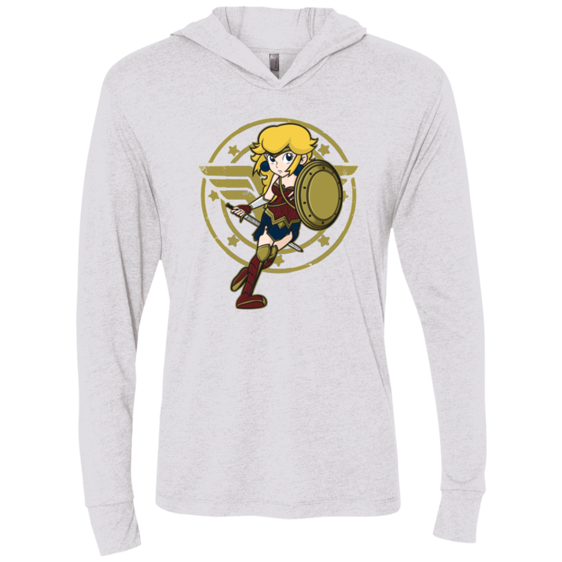 Wonder Peach Triblend Long Sleeve Hoodie Tee