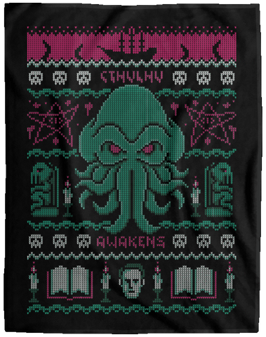 Cthulhu Awakens Ugly Sweater 60x80 MicroFleece Blanket