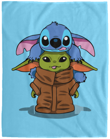 Blankets Columbia Blue / One Size Stitch Yoda 60x80 MicroFleece Blanket