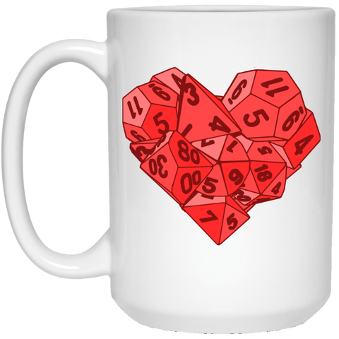 Drinkware White / One Size Dice Heart 15oz Mug