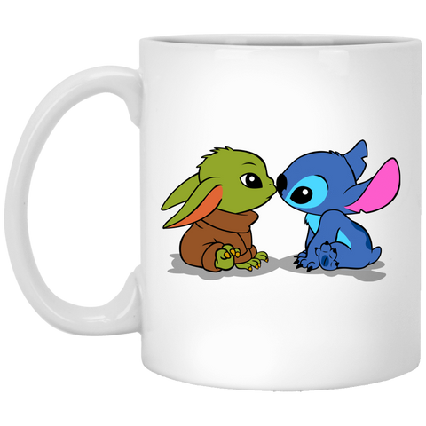 Drinkware White / One Size Stitch Yoda Baby 11oz Mug