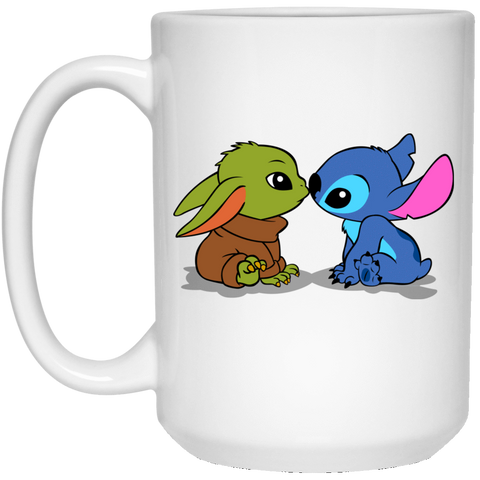 Drinkware White / One Size Stitch Yoda Baby 15oz Mug