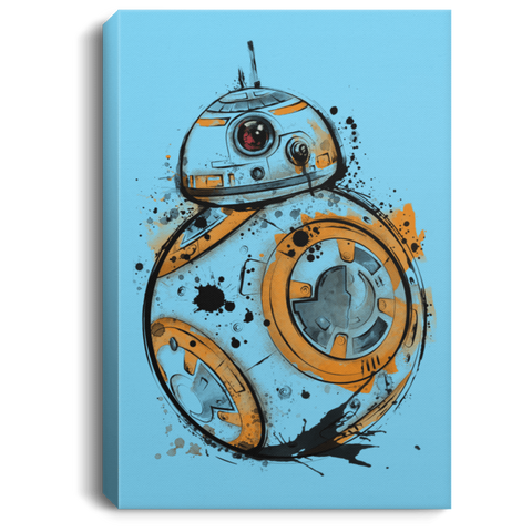 Astromech Droid Watercolor Premium Portrait Canvas