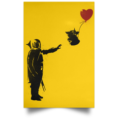 "Housewares Athletic Gold / 12"" x 18"" Banksy Baby Yoda Portrait Poster"