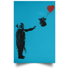 "Housewares Turquoise / 12"" x 18"" Banksy Baby Yoda Portrait Poster"