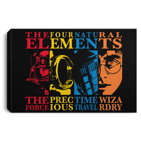 "Housewares Black / 12"" x 8"" Four Elements Premium Landscape Canvas"