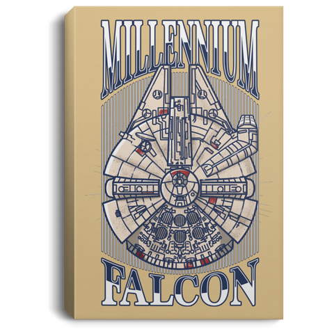 "Housewares Tan / 8"" x 12"" Millennium Falcon Premium Portrait Canvas"