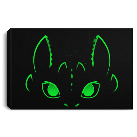 "Housewares Black / 12"" x 8"" Neon Toothless Premium Landscape Canvas"