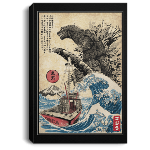 "Housewares Black / 8"" x 12"" Orca in Japan Woodblock Premium Portrait Canvas"