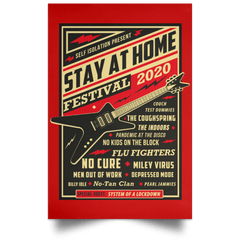 "Housewares Red / 12"" x 18"" Quarantine Social Distancing Stay Home Festival 2020 Portrait Poster"