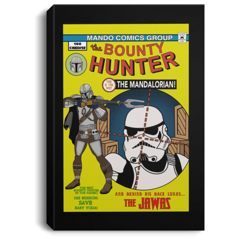 "Housewares Black / 8"" x 12"" The Bounty Hunter Comic Premium Portrait Canvas"