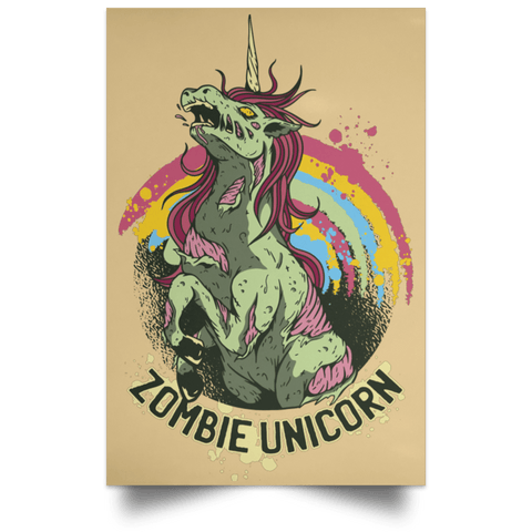 "Housewares Tan / 12"" x 18"" Zombie Unicorn Portrait Poster"