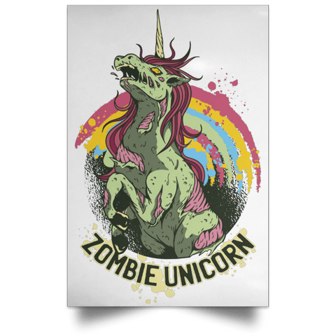 "Housewares White / 12"" x 18"" Zombie Unicorn Portrait Poster"