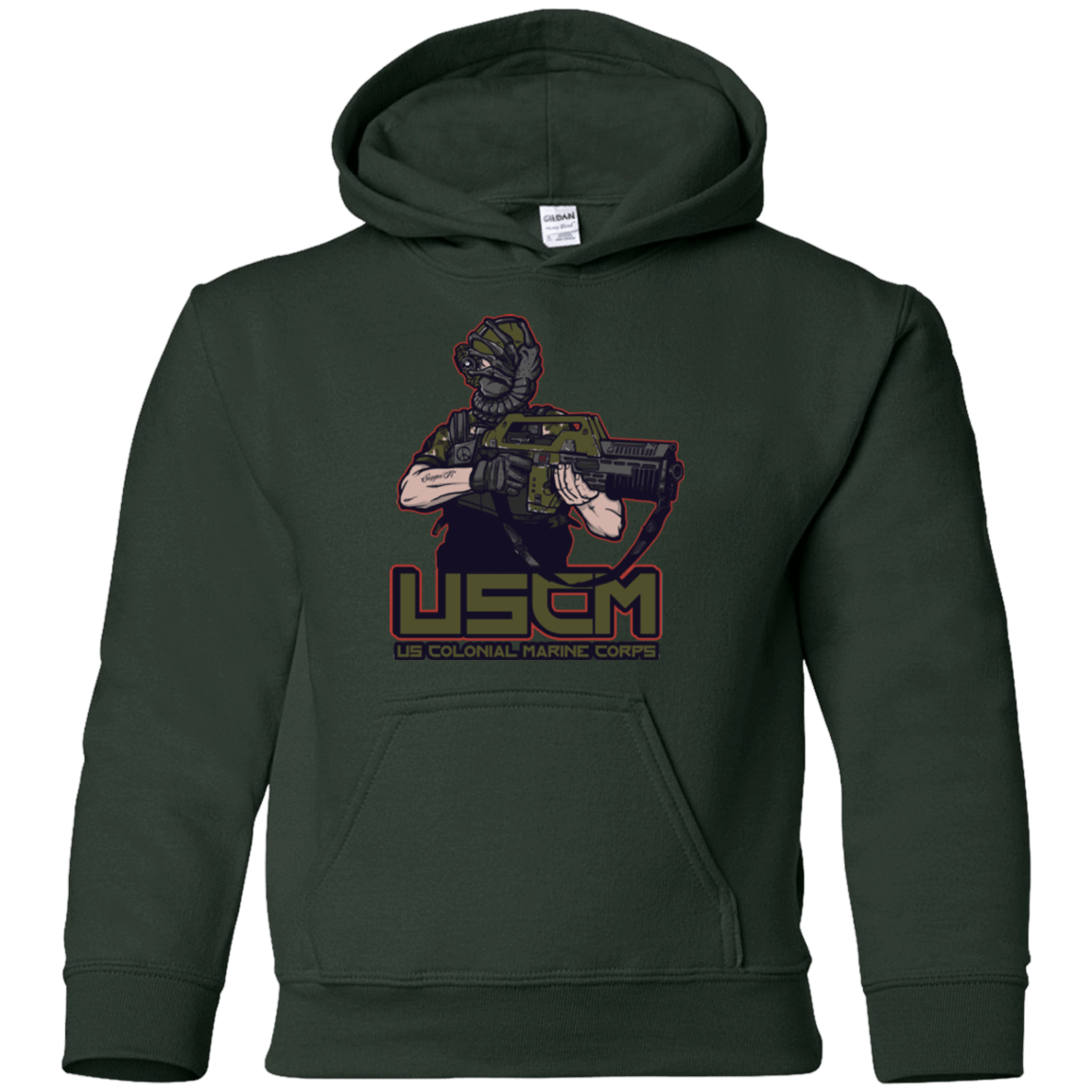 Sweatshirts Forest Green / YS Colonial Facehugger Youth Hoodie