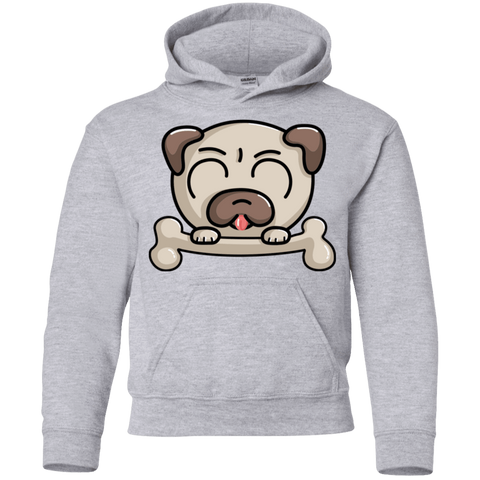 Cute Pug and Bone Youth Hoodie