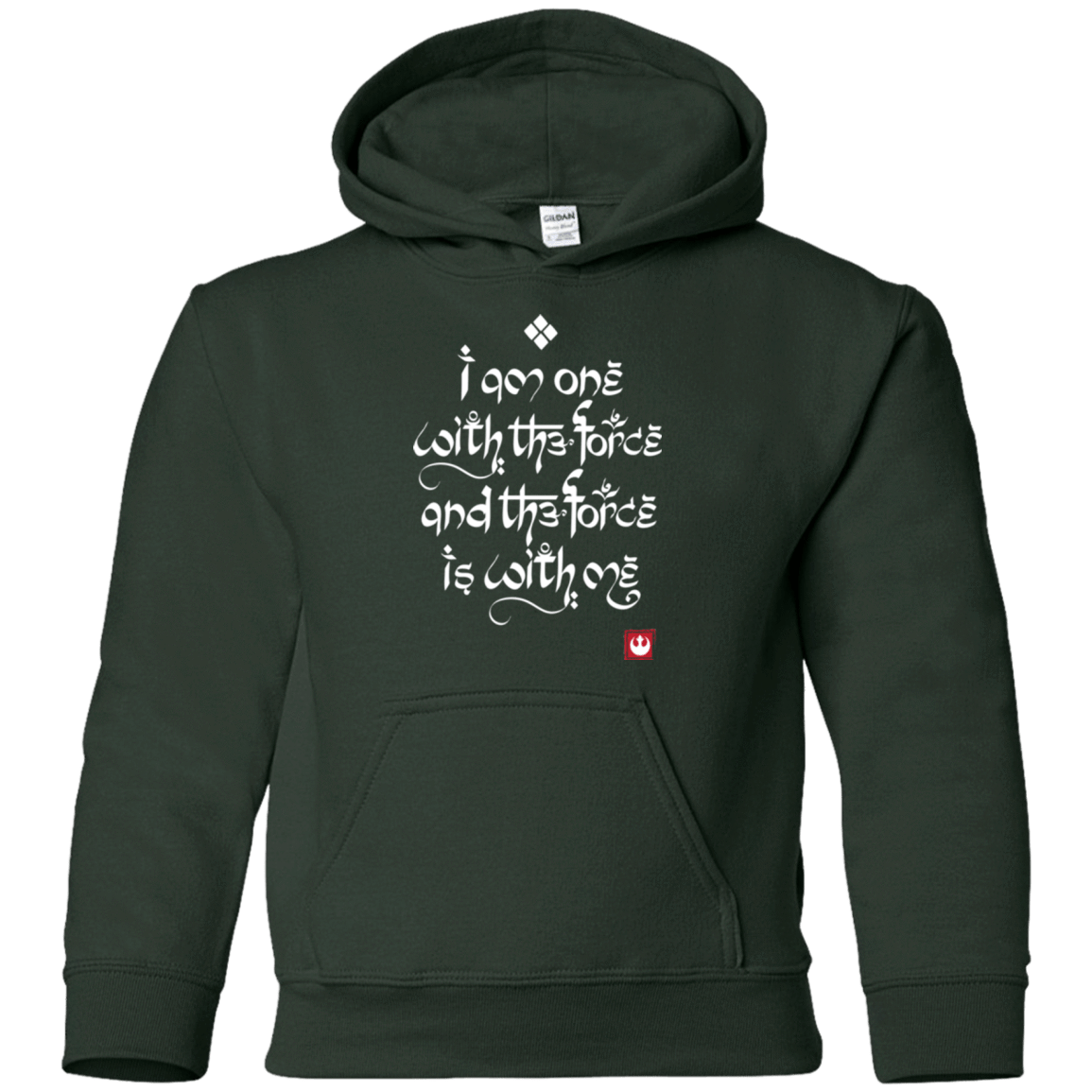 Sweatshirts Forest Green / YS Force Mantra White Youth Hoodie