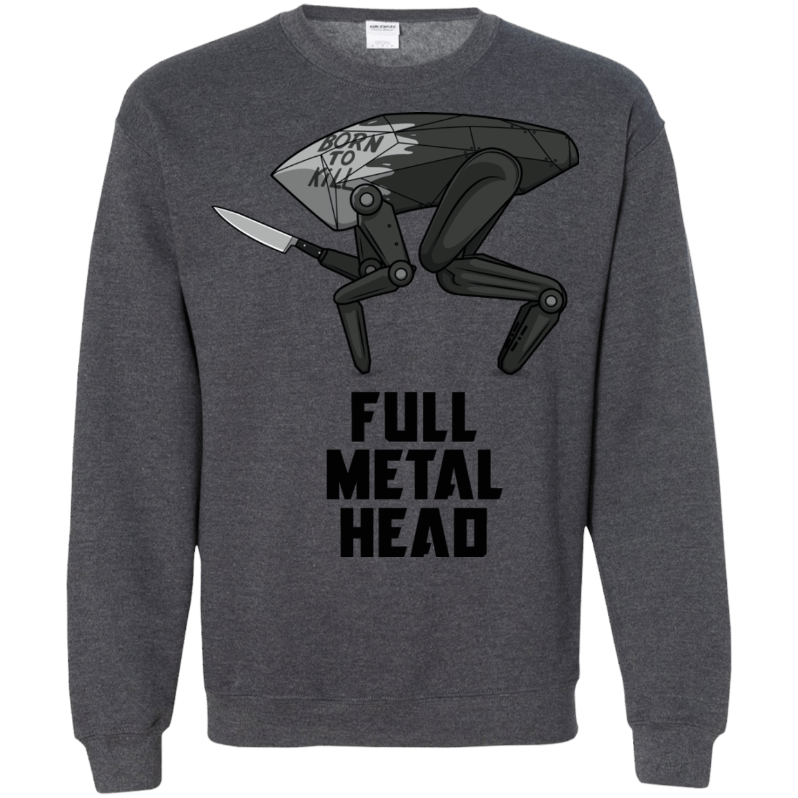 Sweatshirts Dark Heather / S Full Metal Head Crewneck Sweatshirt
