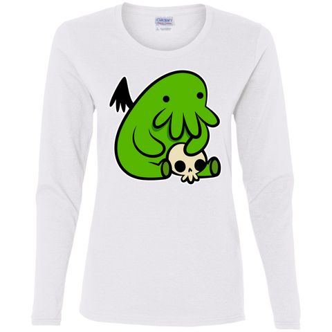T-Shirts White / S Baby Cthulhu Women's Long Sleeve T-Shirt