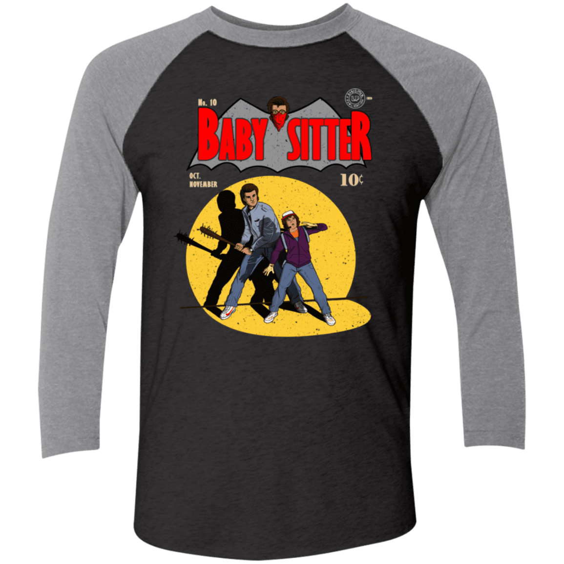 T-Shirts Vintage Black/Premium Heather / X-Small Babysitter Batman Men's Triblend 3/4 Sleeve