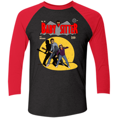 T-Shirts Vintage Black/Vintage Red / X-Small Babysitter Batman Men's Triblend 3/4 Sleeve
