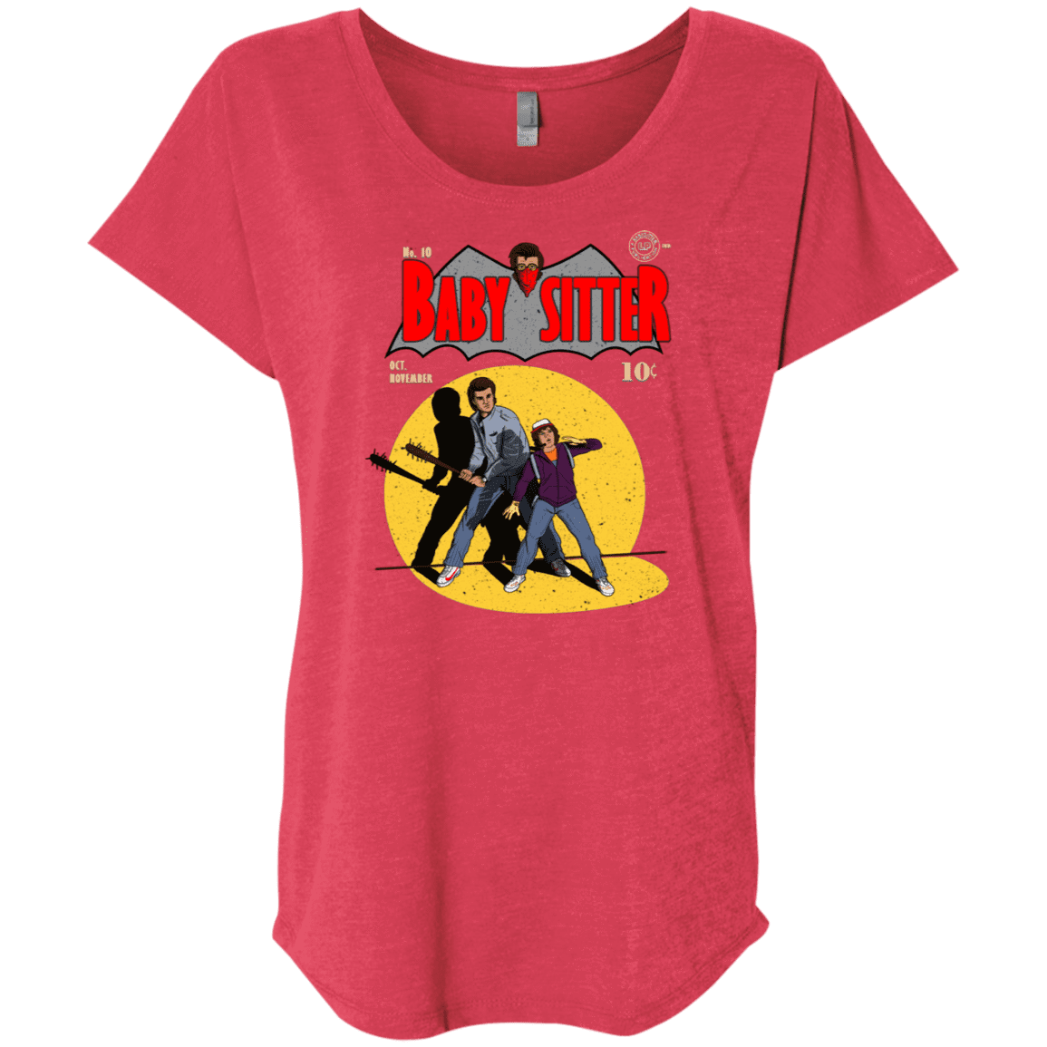 T-Shirts Vintage Red / X-Small Babysitter Batman Triblend Dolman Sleeve